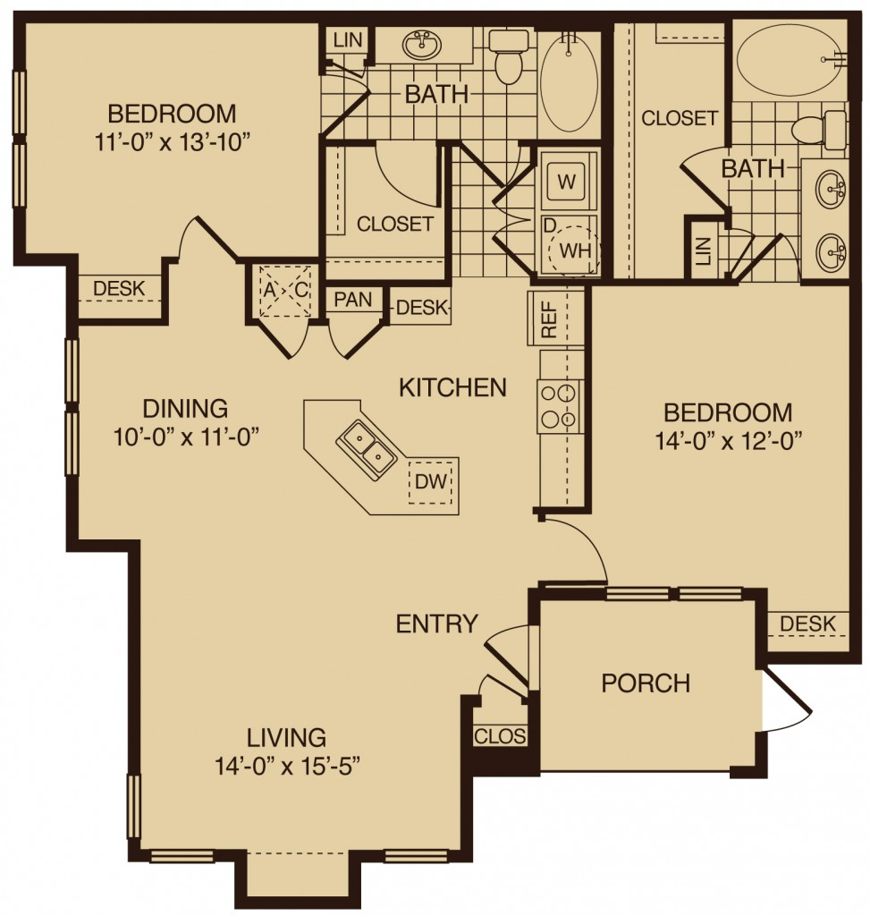 two bedroom apartments in The Woodlands