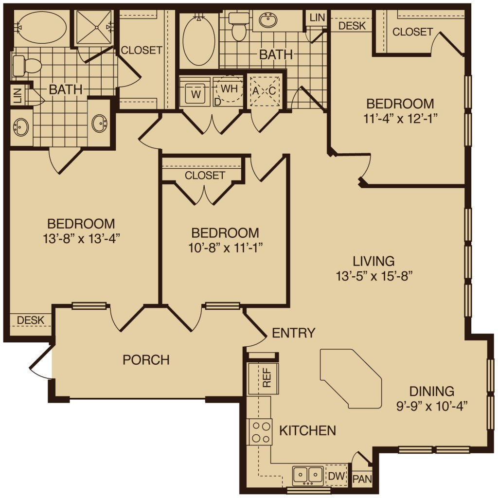 Three bedroom apartments in the woodlands