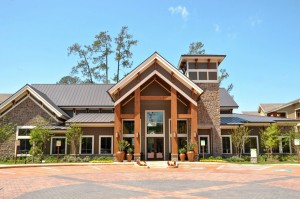 One Bedroom Apartments for Rent in The Woodlands, TX - Clubhouse & Leasing Office Exterior