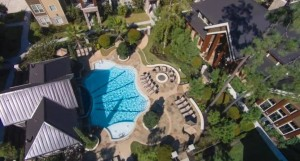 One Bedroom Apartments for Rent in The Woodlands, TX - Aerial View of Pool & Clubhouse