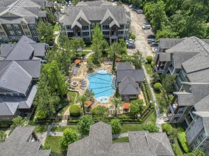 Two Bedroom Apartments for Rent in The Woodlands, TX - Aerial View of Community & Pool
