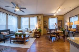 1 Bedroom Apartments for Rent in The Woodlands, Texas - Model Dining & Living Room