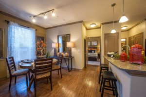 1 Bedroom Apartments for Rent in The Woodlands, Texas - Model Kitchen, Dining & Bedroom
