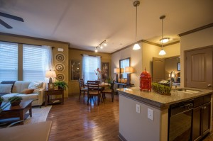 1 Bedroom Apartments for Rent in The Woodlands, Texas - Model Kitchen, Dining & Living Room