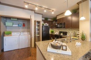 2 Bedroom Apartments for Rent in The Woodlands, TX - Model Laundry Room & Kitchen