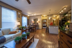 2 Bedroom Apartments for Rent in The Woodlands, Texas - Model Kitchen, Dining Room, Living Room & Bedroom