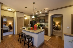 2 Bedroom Apartments for Rent in The Woodlands, Texas - Model Kitchen & Two Bedrooms