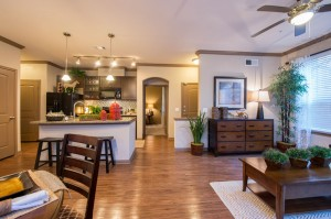 3 Bedroom Apartments for Rent in The Woodlands, Texas - Model Kitchen & Living Room